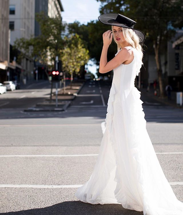 ✨ D R A M A ✨ ...showstopping moments in the 'Flare' gown.  Photographer : @julianlallo @julianlallophotography  HMUA : @missclarissmakeup  Milliner : @stephaniespencer_millinery .  #couturebride #voguebride #melbournebride #melbournedesigner #streetstyle #bridalstyle #bridalblogger #weddingstyle #weddingideas #showstopper #bridalstylist #bridetobe2018 #bridetobe2019 #melbournemade #tulle #pereeia #custommadedress #catwalk #redcarpet #luxury #luxebride