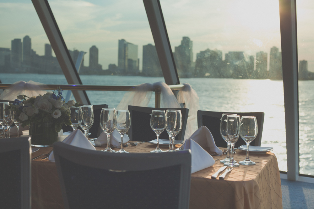 Beautiful table set up overlooking the Manhattan skyline
