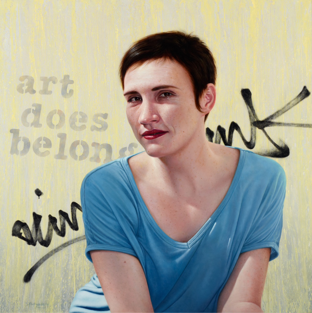 Nick Stathopoulos  Title: Art does belong. Portrait of Fenella Kernebone Medium: acrylic and oil glaze on canvas Dimensions: 138 x 138cm   Finalist in Archibald prize, 2012.