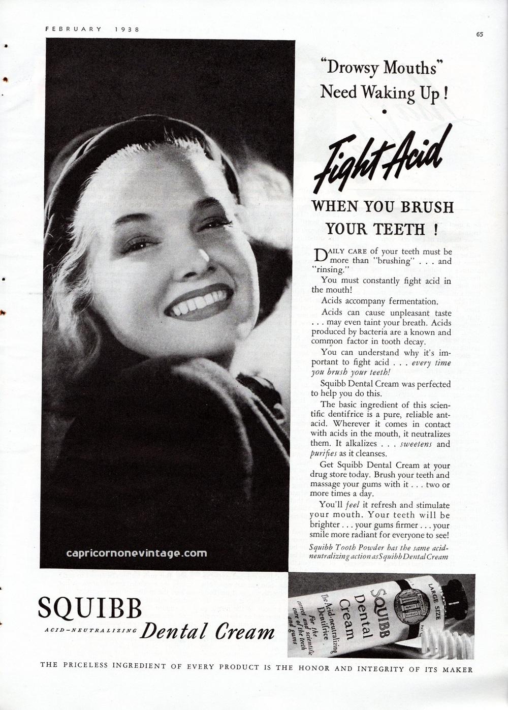 (Toothpaste advertisement, 1938.)