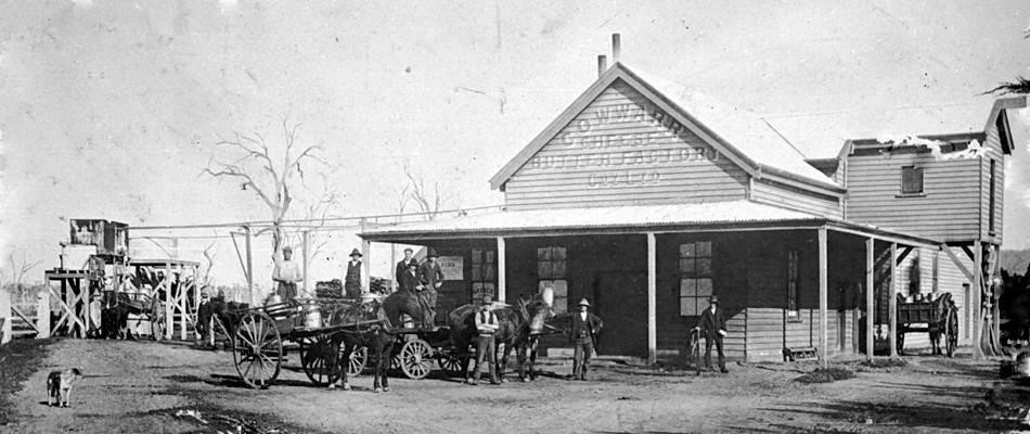 Early History - The discovery of Gold at Walhalla in 1862 created great expansion in the district.  The Fresh Food and Storage Company opened a creamery around 1880 and in 1897 The Cowwarr Cheese and Butter Factory Co. Ltd. was formed. Construction of the current building commenced in 1918 to take advantage of the new railway line and station.