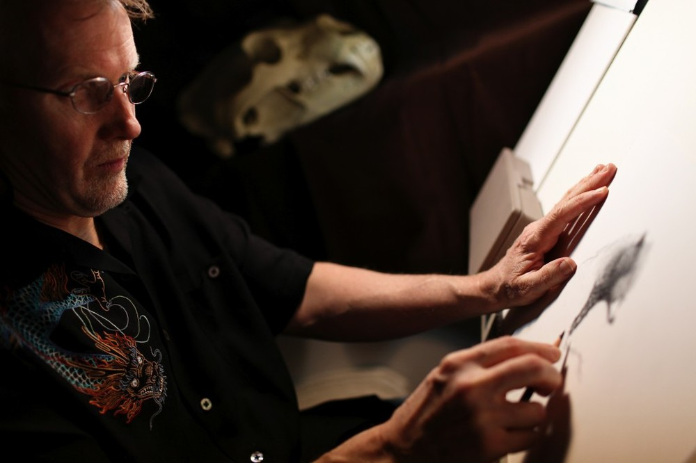 Brave Production Designer Steve Pilcher is photographed working in his office on February 13, 2012 at Pixar Animation Studios in Emeryville, Calif. (Photo by Deborah Coleman / Pixar. All rights reserved.)