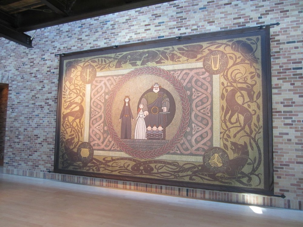 A massive print of Steve's textile design is hanging in Pixar's entryway. Photo by Derrick Clements.
