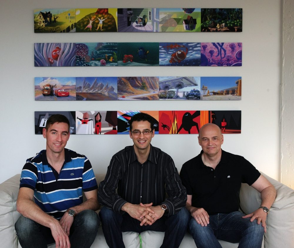 Pixar Canada's Creative Director Dylan Brown, General Manager Amir Nasrabadi and Chief Technical Officer Darwyn Peachey, are photographed on April 19, 2010 at Pixar Canada in Vancouver, British Columbia, Canada. Pixar Canada will provide animation to support Pixar Animation Studios franchises such as Toy Story and Cars. (Photo by Deborah Coleman / Pixar). Used with permission. All rights reserved.
