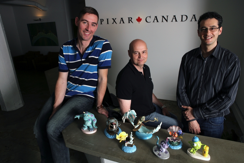 Pixar Canada's Creative Director Dylan Brown, Chief Technical Officer Darwyn Peachey, and General Manager Amir Nasrabadi are photographed on April 19, 2010 at Pixar Canada in Vancouver, British Columbia, Canada. Pixar Canada will provide animation to support Pixar Animation Studios franchises such as Toy Story and Cars. (Photo by Deborah Coleman / Pixar). Used with permission. All rights reserved.