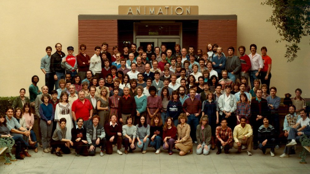 The Walt Disney animation department pose for one final picture before theyvacate the Disney main lot circa 1984 from WAKING SLEEPING BEAUTY directed by Don Hahn, produced by Peter Schneider and Don Hahn. © Disney Enterprises.