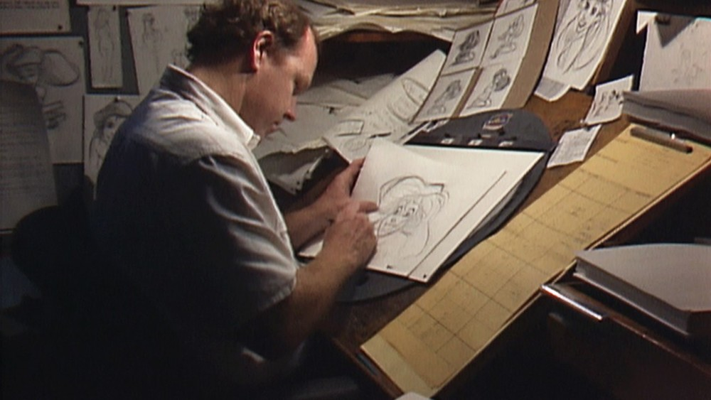 Animator Glen Keane at work late at night on a scene of Ariel from The LittleMermaid in a scene from Don Hahn's documentary WAKING SLEEPING BEAUTYdirected by Don Hahn, produced by Peter Schneider and Don Hahn. © Disney Enterprises.