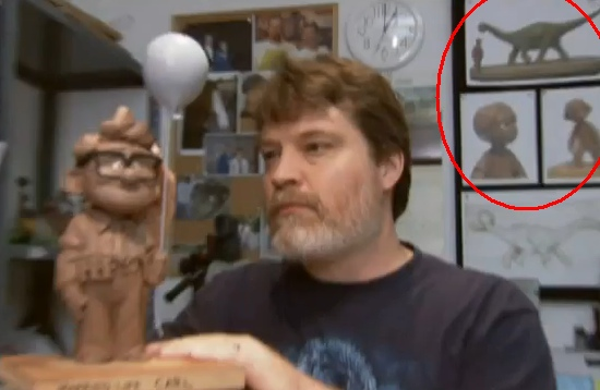 The old but still-elusive image of Greg Dykstra at Pixar with a sculpture of Carl from Up, and some mysterious dino art in the background. Via /Film.