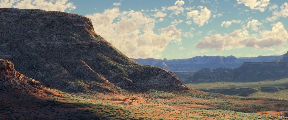 This is not a painting...or a photograph. THE GOOD DINOSAUR (Pictured) The T-Rexes.  ©2015 Disney•Pixar. All Rights Reserved.