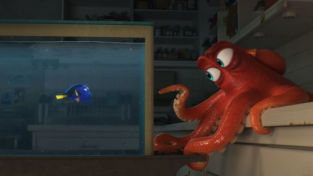 "In ""Finding Dory,"" Dory (voice of Ellen DeGeneres), encounters an array of new and old acquaintances, including a cantankerous octopus named Hank (voice of Ed O'Neill)."