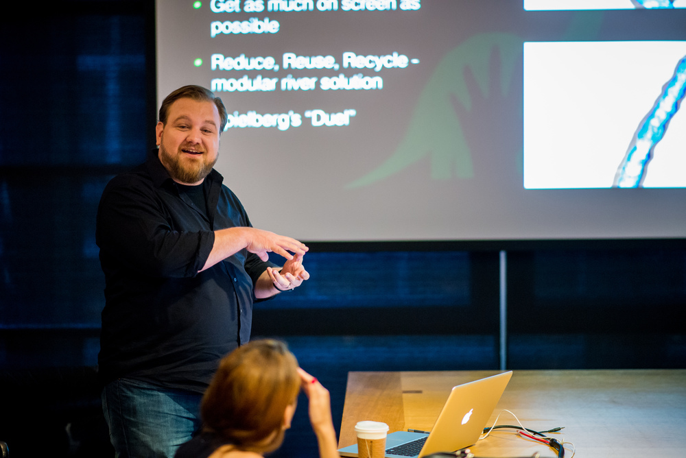 Effects Supervisor Jon Reisch presents at the Long Lead Press Days at Pixar Studios. Photo by: Marc Flores. ©2015 Disney•Pixar. All Rights Reserved.
