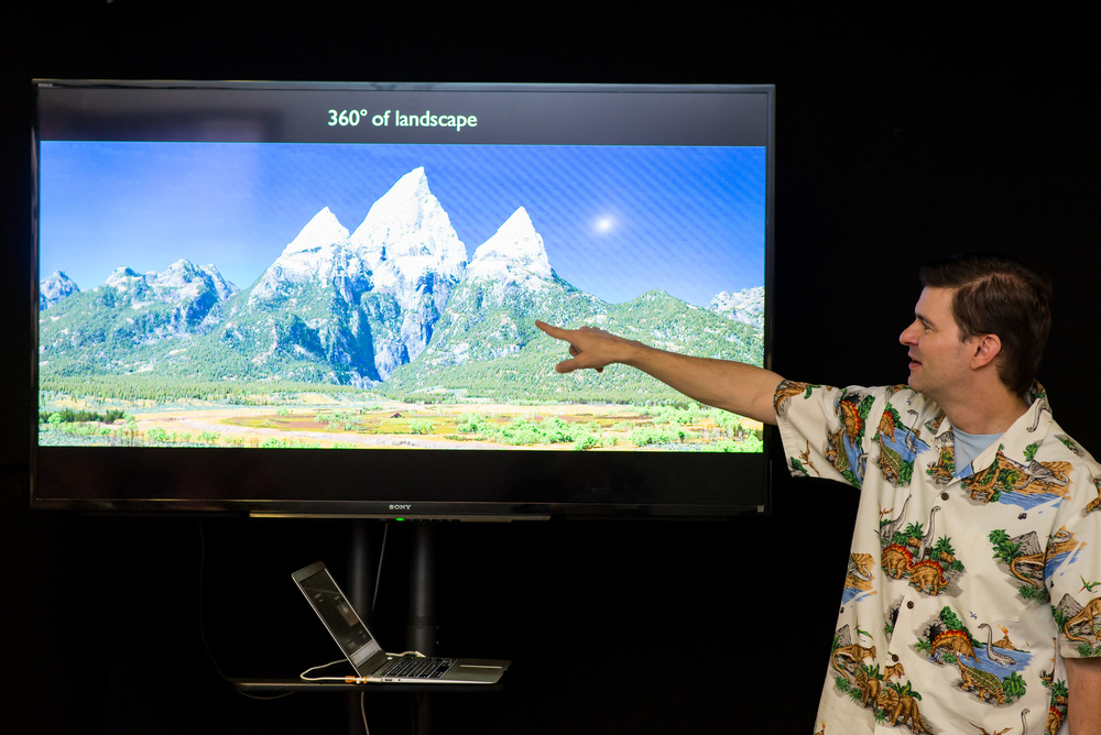 Sets Supervisor David Munier presents at the Long Lead Press Days at Pixar Studios in Emeryville, CA. on October 2, 2015. Photo by Marc Flores. ©2015 Disney•Pixar. All Rights Reserved.