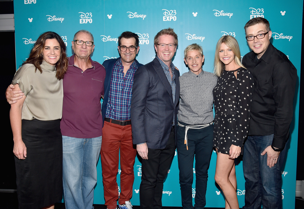 "ANAHEIM, CA - AUGUST 14, 2015:  (L-R) Producer Lindsey Collins, actors Ed O'Neill, Ty Burrel, director Andrew Stanton, actresses Ellen DeGeneres and Kaitlin Olson and co-director Angus MacLane of FINDING DORY took part today in ""Pixar and Walt Disney Animation Studios: The Upcoming Films"" presentation at Disney's D23 EXPO 2015 in Anaheim, Calif.  (Photo by Alberto E. Rodriguez/Getty Images for Disney)"