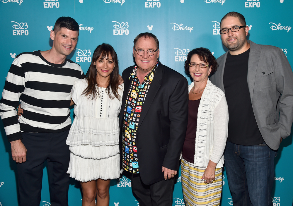 "ANAHEIM, CA - AUGUST 14, 2015:  (L-R) Writers Will McCormack and Rashida Jones, director John Lasseter, producer Galyn Susman and co-director Josh Cooley of TOY STORY 4 took part today in ""Pixar and Walt Disney Animation Studios: The Upcoming Films"" presentation at Disney's D23 EXPO 2015 in Anaheim, Calif.  (Photo by Alberto E. Rodriguez/Getty Images for Disney)"