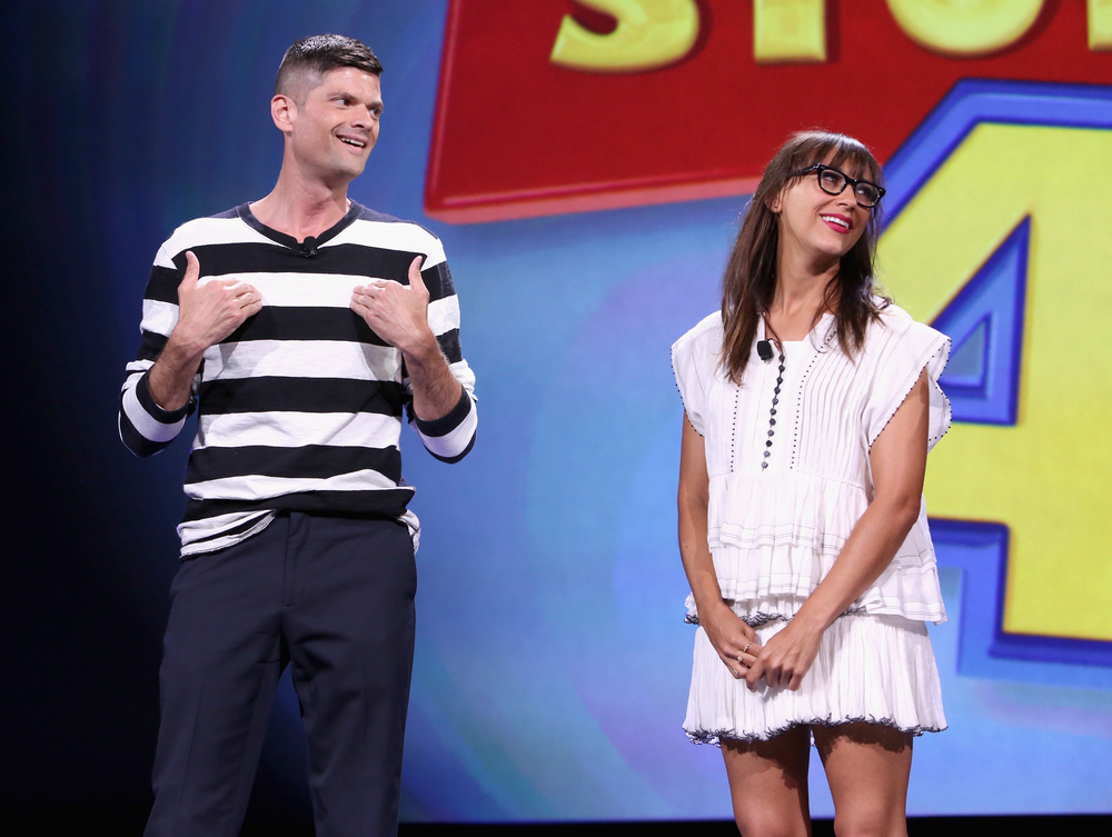 "ANAHEIM, CA - AUGUST 14, 2015:  Writers Will McCormack (L) and Rashida Jones of TOY STORY 4 took part today in ""Pixar and Walt Disney Animation Studios: The Upcoming Films"" presentation at Disney's D23 EXPO 2015 in Anaheim, Calif.  (Photo by Jesse Grant/Getty Images for Disney)"