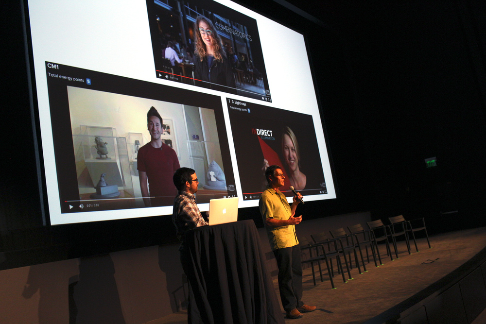 Khan Academy Content Producer Brit Cruise and Pixar Senior Scientist Tony DeRose give a demonstration at the Pixar in a Box event in collaboration with Khan Academy at Pixar Animation Studios on August 26, 2015 in Emeryville, Calif. (Photo by Deborah Coleman / Pixar)