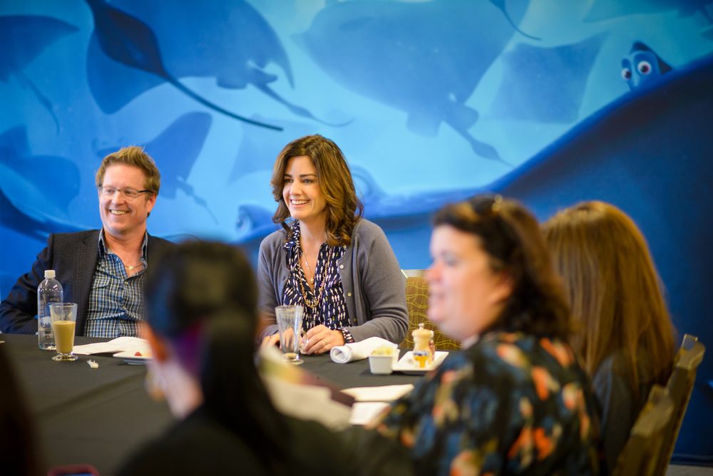 "Andrew Stanton (Director) and Lindsey Collins (Producer) at a ""Finding Dory"" press day at the Monterey Bay Aquarium in Monterey, CA. Photo courtesy Marc Flores. ©2016 Disney•Pixar. All Rights Reserved."