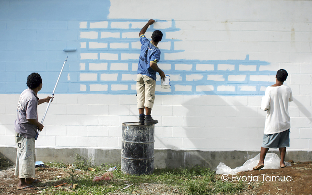 The Three Amigos  Or, how to paint a wall in Samoa. Faleata School, Upolu, Samoa.