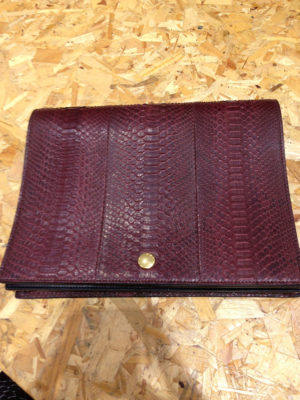 Celine Double Flap Clutch in Burgundy Python Skin
