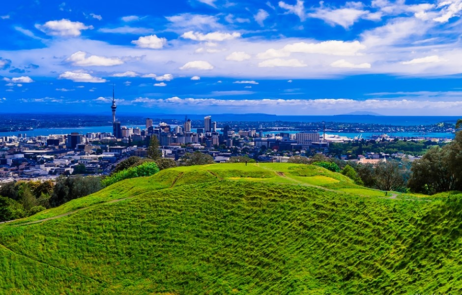 Views from the top of Mount Eden, overlooking Auckland City.