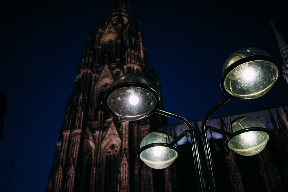 Cologne Cathedral at night.