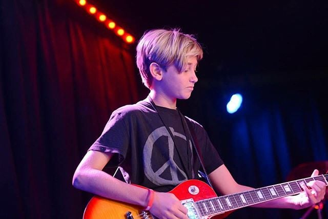 Our student Scott showin off his skills at our RockShow recital in Los Angeles. Can't wait to rock out with all our students again this summer at RockShow 2016! #rockhomelessons