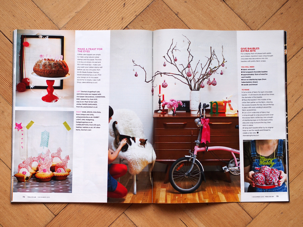 Davina featured in a YOU Magazine Christmas DIY special