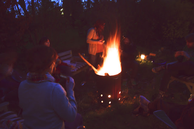 Garden bonfire in Hannah's garden from the  Seeds and Stitches archive