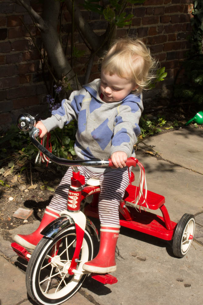 Frankie on her bike, Seeds and Stitches