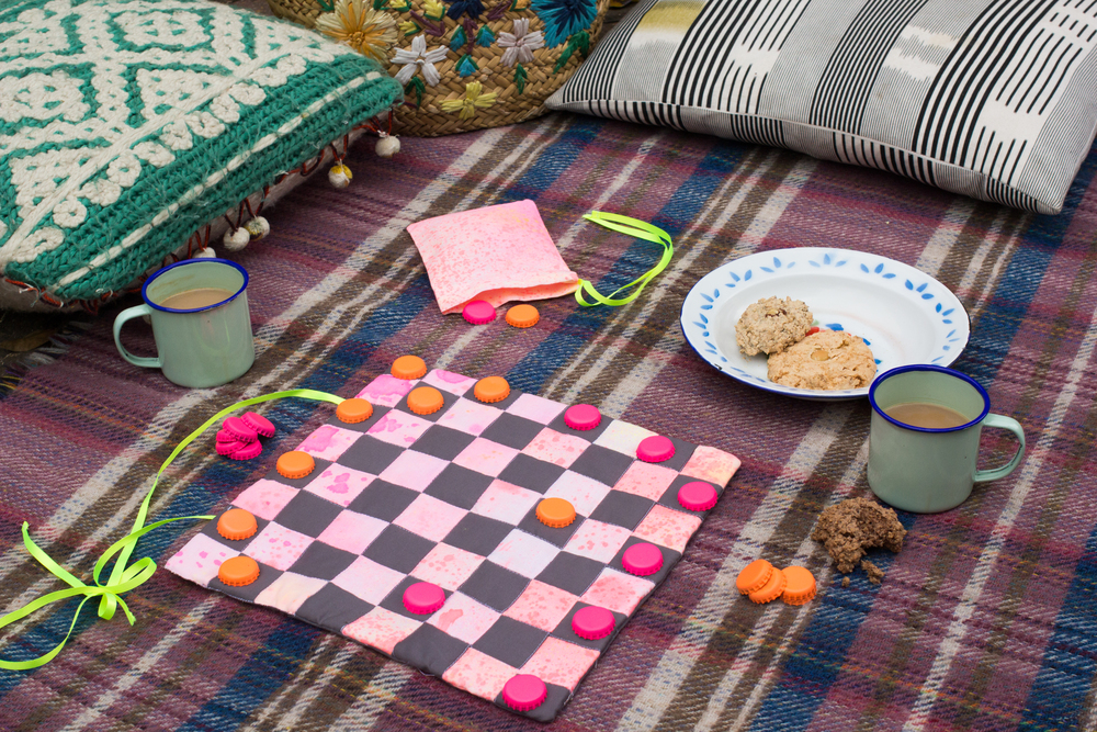 two sided patchwork game board for Mollie Makes