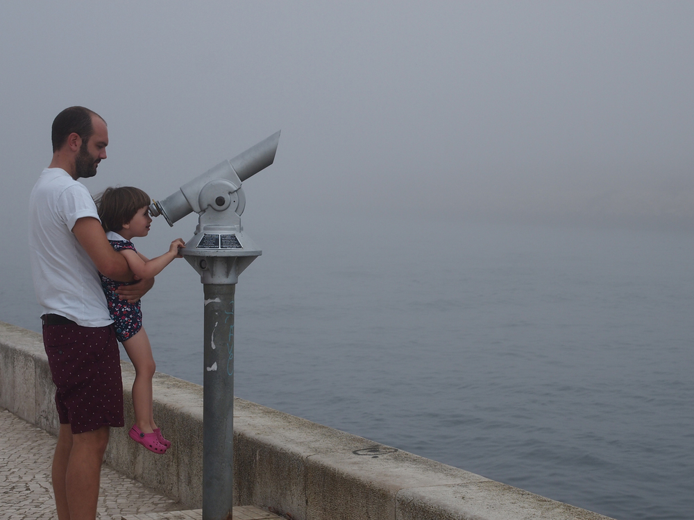 Elfie and her uncle Will trying to view boats in the fog