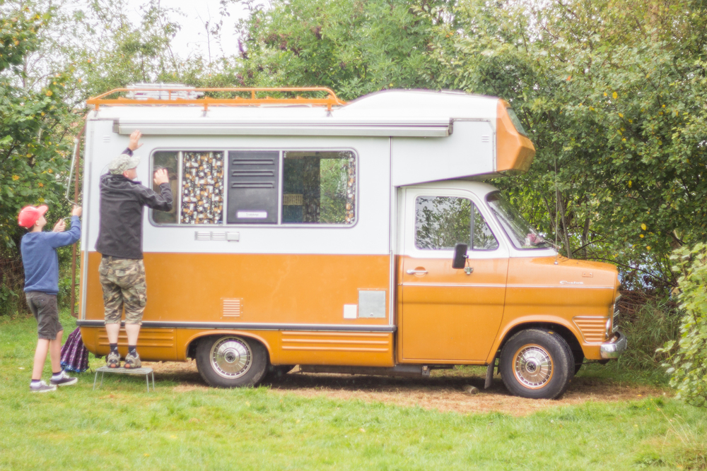 Retro campervan, Theyncamp, Rural Netherlands