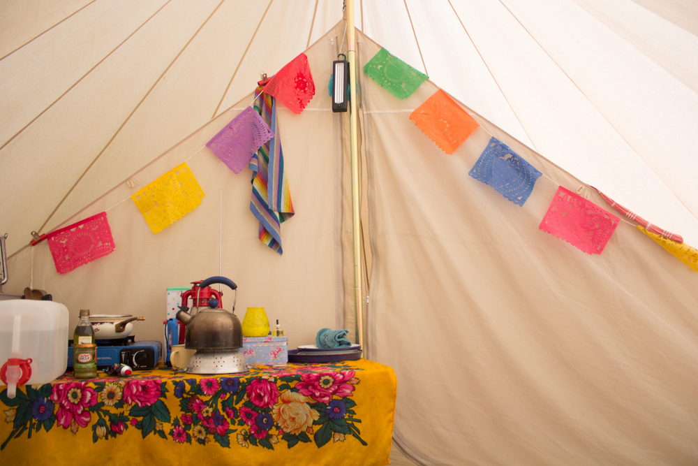 Bell tent kitchen