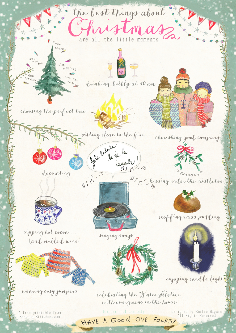 Wonderful Poster/ free card printable by Emilie Maguin for Seeds and Stitches*