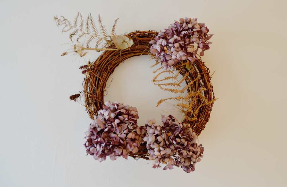 Dried Hydrangea Christmas wreath