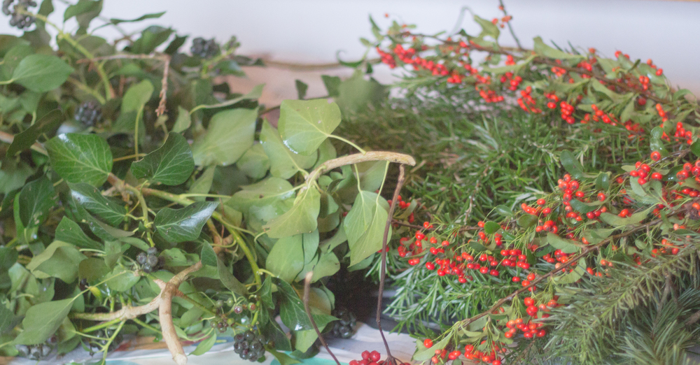 Christmas crafting with garden greenery | Seeds and Stitches blog