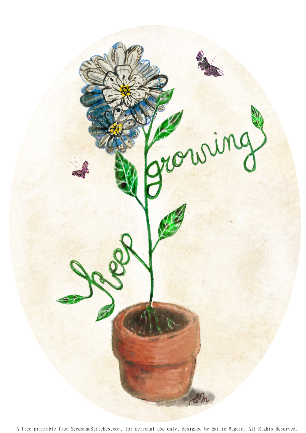 Keep Growing by Emilie Maguin for Seeds and Stitches blog