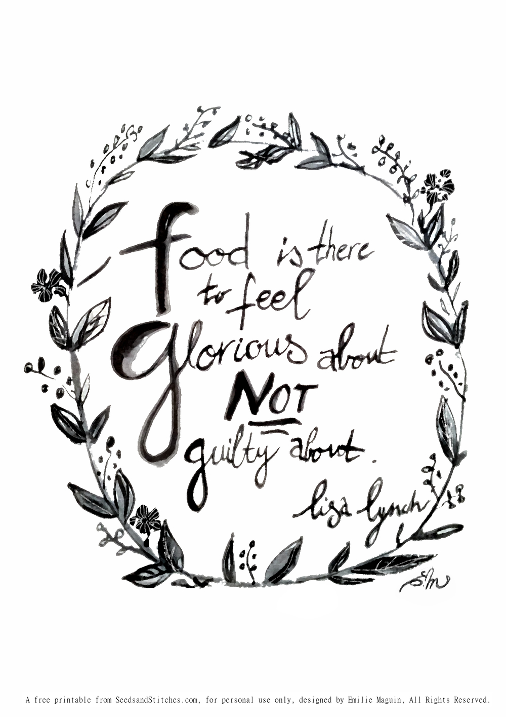 Food is glorious quote by Lisa Lynch illustrated by Emilie Maguin for Seeds and Stitches blog.