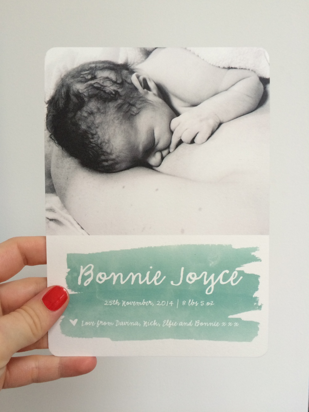 Bonnie's Birth Announcement printed and designed by Minted.com