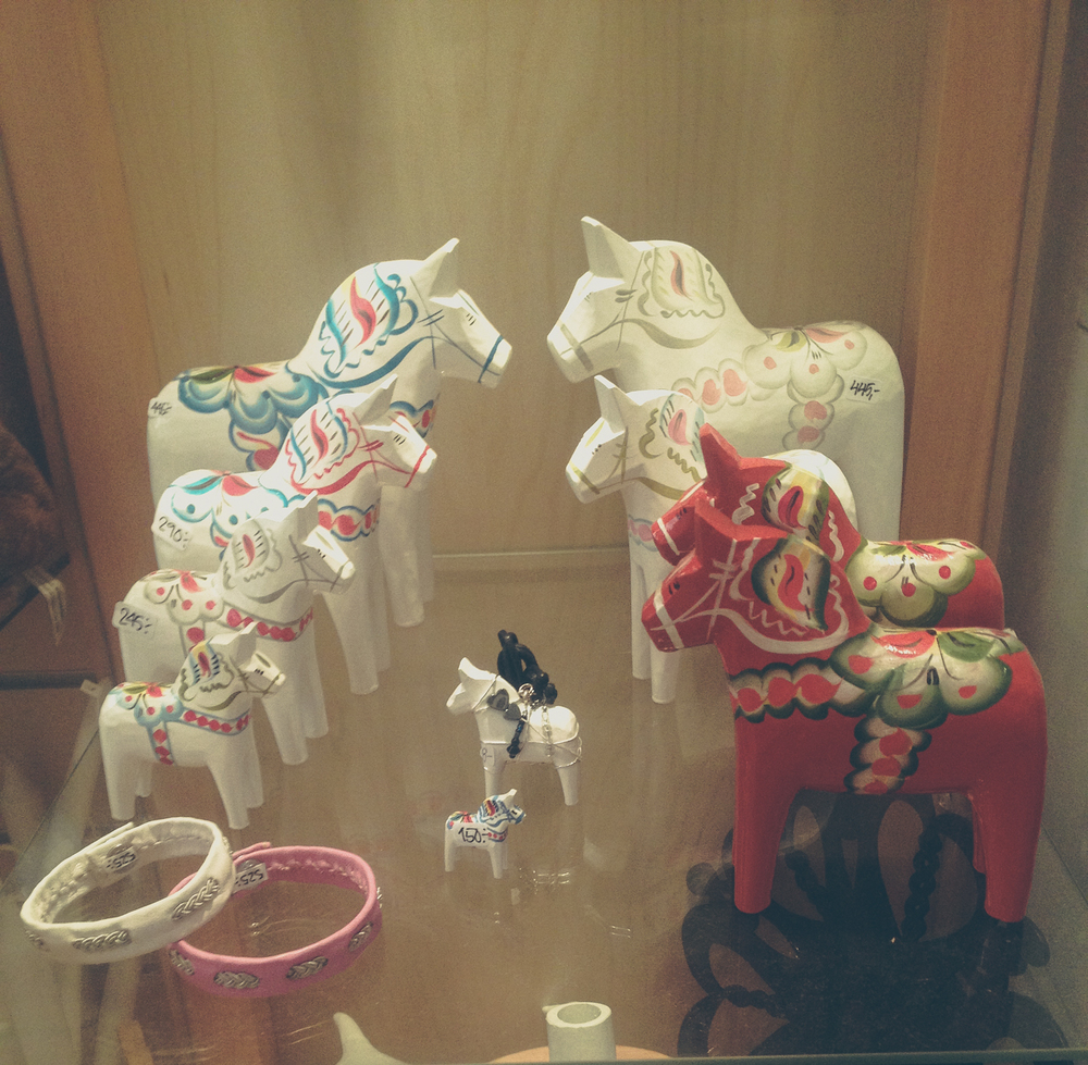 Dala horses from Haga, Gothenburg | Seeds and Stitches blog.