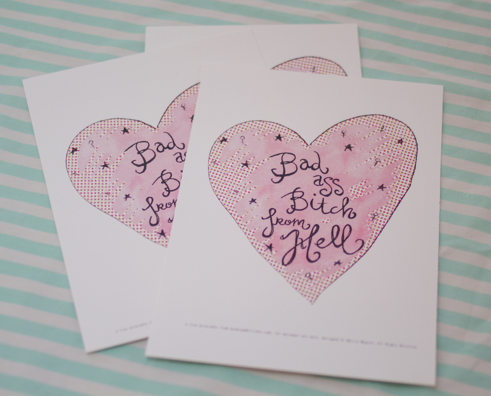 Bad Ass Bitch free printable for Galantines day by Emilie Maguin | Seeds and Stitches