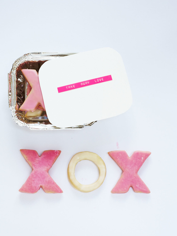 Make X and O cookies and present them in an old take away box