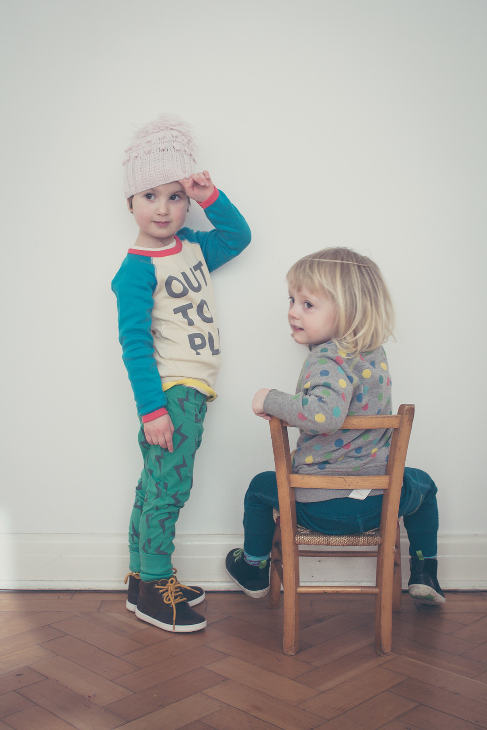 Ellie and Frankie in Boys and Girls + Clarks shoot by Wild Fox Portraits for Seeds and Stitches blog.