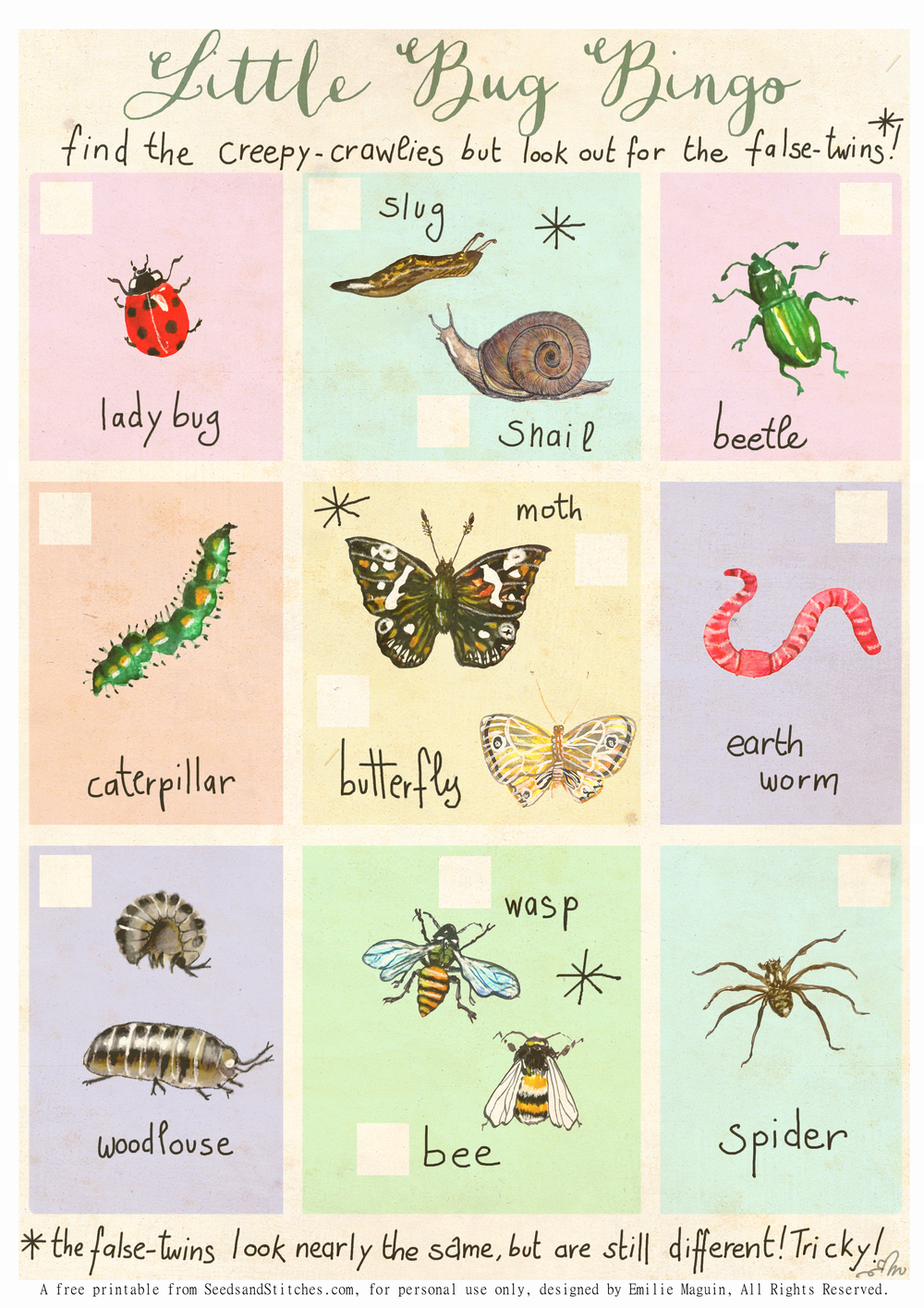 Nature Bingo for bigger kids by Emilie Maguin | Seeds and Stitches blog