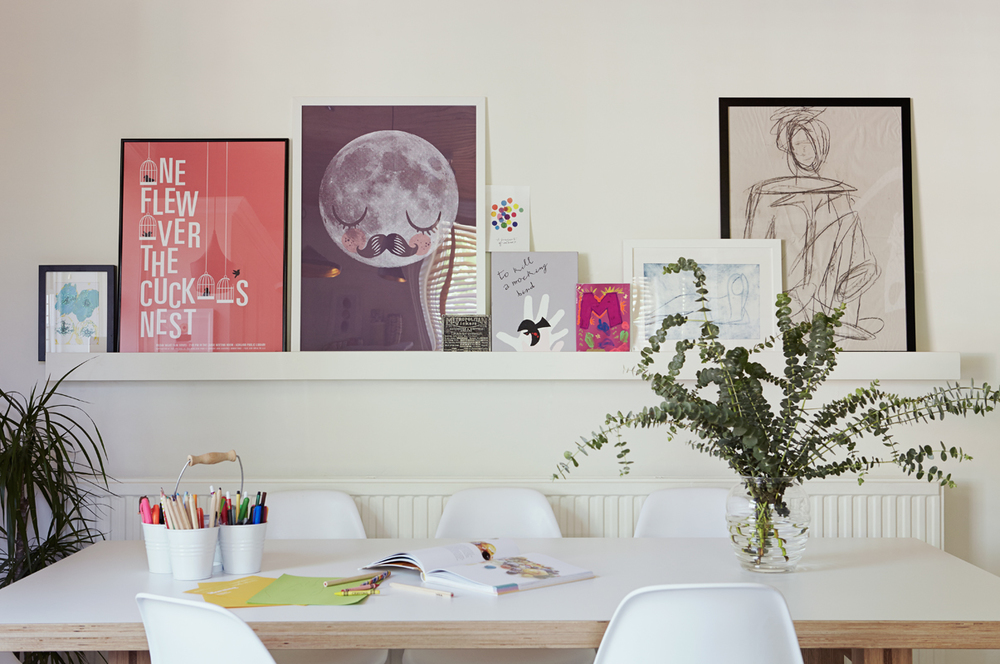 For similar white picture shelves try the Ribba picture ledge, £7.90, Ikea. Moon Print, 18.50 is by Omm Design, from the Pippa and Ike Show. http://the-pippa-and-ike-show.com/