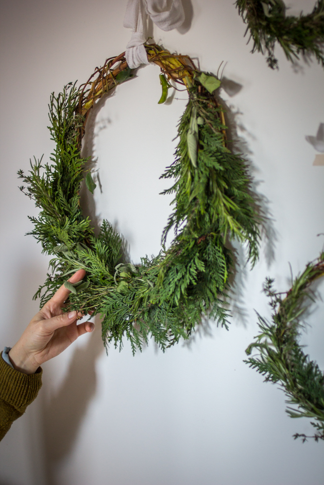 DIY Rustic Herbal Christmas Wreath | Seeds and Stitches blog