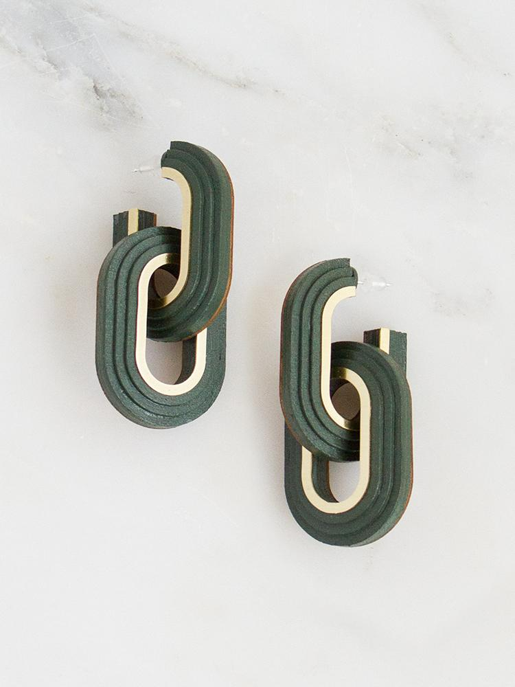 Brass & Handpainted Wood Earrings by WOLF & MOON | London £ 75 LEARN MORE