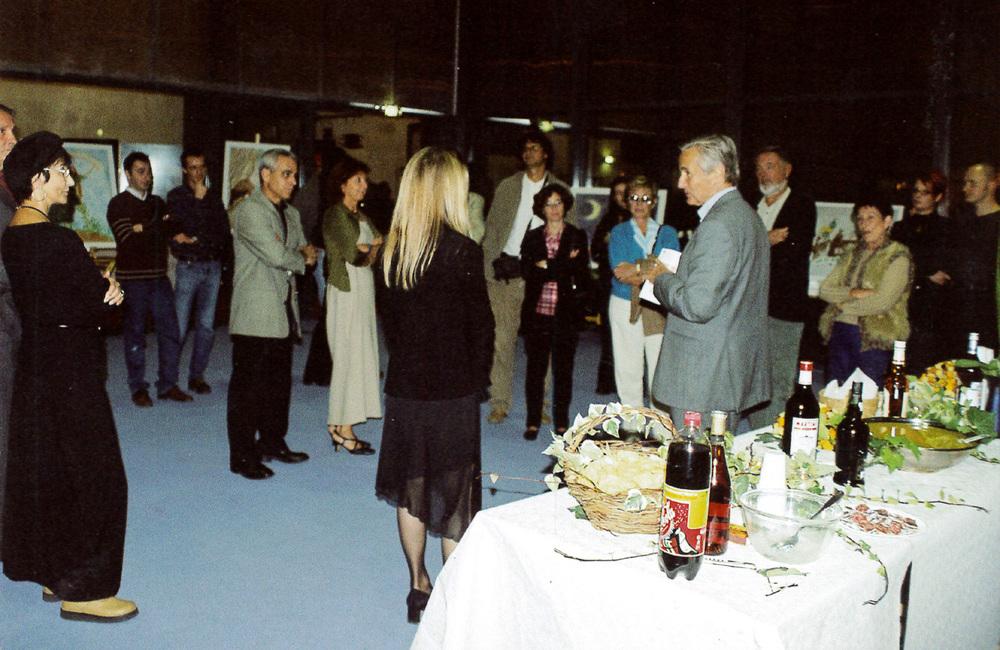 """Vernissage de l'exposition """"La Montagne enchantée"""" en présence de Mr André Aschieri, député-Maire de Mouans-Sartoux.   Varnishing of the """"Enchanted Mountain"""" with Mr André Aschieri, Mayor of Mouans-Sartoux."""