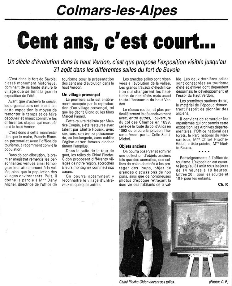 (Nice-Matin - Colmars-les-Alpes, Juillet 1999)