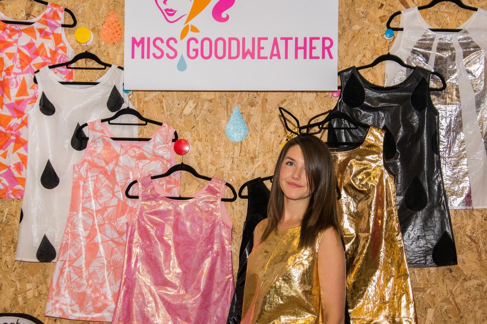 Proud designer with her wares at the Old Selfridges Hotel Makegood Festival